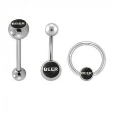 Piercing készlet - BEER felirat a fekete alapon