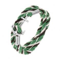 Karkötő fekete, fehér és zöld színekben, fényes ezüst színű vasmacska