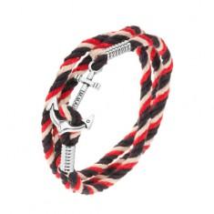 Fonott karkötő piros, sötétkék és bézs színben, tengeri vasmacska