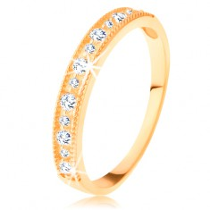 14K sárga arany gyűrű - átlátszó cirkóniás sáv díszes szélek