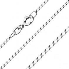 925 ezüst nyaklánc, lapos ovális szemek, 1,3 mm