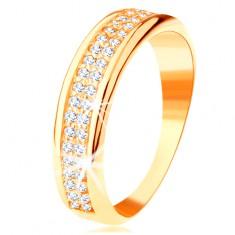 Gyűrű 14K sárga aranyból - két sor átlátszó cirkónia, fényes ívelt szélek