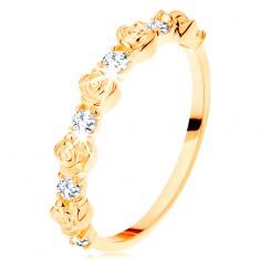 Gyűrű 14K sárga aranyból - váltakozó rózsák és kerek átlátszó cirkóniák