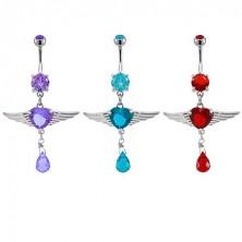 Szívecske köldökpiercing - angyal szárnyak