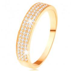 585 arany gyűrű - szélesebb három soros cirkóniás vonal