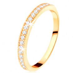 585 arany gyűrű - átlátszó cirkóniás sáv kiálló recés szegéllyel