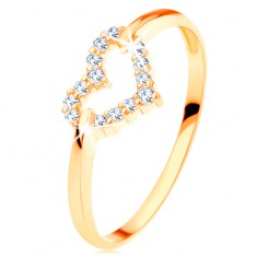 Gyűrű 14K sárga aranyból - csillogó szabályos szívkörvonal