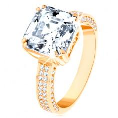 585 arany luxus gyűrű - nagy csiszolt cirkónia díszített foglalatban, cirkóniás vonalak