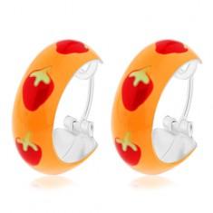 925 ezüst fülbevaló narancssárga fénymázzal és piros eprekkel, 14 mm