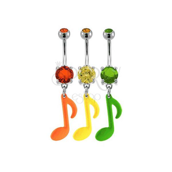 Köldök piercing - színes hangjegyek és cirkónia