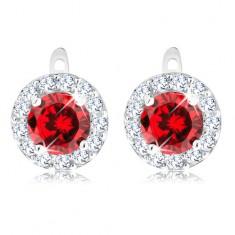 Fülbevaló 925 ezüstből, kerek piros cirkónia csillogó szegéllyel