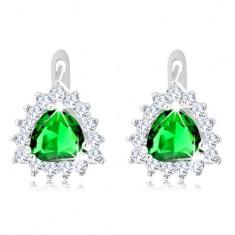 925 ezüst fülbevaló, zöld csiszolt cirkónia, csillogó átlátszó cirkóniák körülötte