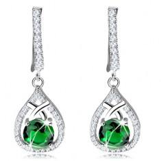 Csillogó fülbevaló, 925 ezüst, cseppköronal kerek zöld cirkóniával
