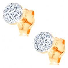 Fülbevaló 14K sárga aranyból - karika átlátszó Swarovski kristályokkal
