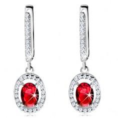 925 ezüst fülbevaló, piros ovális cirkónia átlátszó csillogó szegéllyel