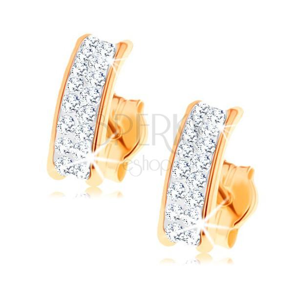dc91e80b6 585 arany fülbevaló - csillogó ív Swarovski kristályokkal, fényes ...