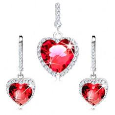 925 ezüst szett - fülbevaló és medál, piros szív átlátszó cirkóniákkal