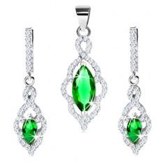 925 ezüst szett - fülbevaló és medál, levélkörvonal zöld cirkóniákkal