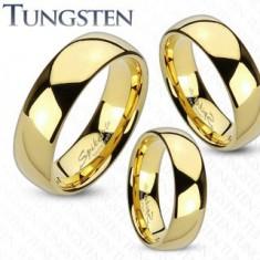 Arany színű tungsten gyűrű, fényes és sima felszín, 4 mm