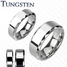 Wolfrám gyűrű, ezüst árnyalat, lemetszett csiszolt szélek, 6 mm