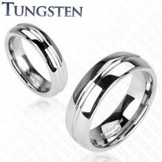Fényes wolfrám gyűrű ezüst árnyalatban, kivájt középső sáv, 6 mm