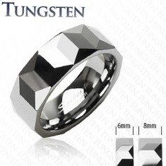 Wolfrám karikagyűrű ezüst színben, csiszolt geometriai felszín, 6 mm