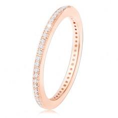 925 ezüst karikagyűrű, réz árnyalat, apró átlátszó cirkóniák a kerületén