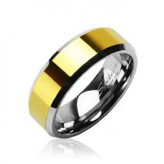 Wolfrám gyűrű lemetszett szélekkel és ezüst szélű arany színű sávval