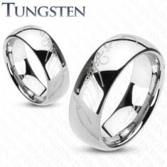 Ezüst színű tungsten karikagyűrű, Gyűrűk ura motívum, 6 mm