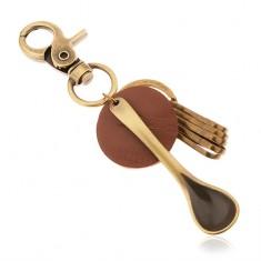 Sárgaréz színű medálos kulcstartó, barna műbőr karika, kiskanál