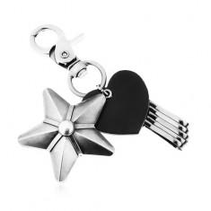 Sötétszürke kulcstartó, fekete szív szintetikus bőrből, nagy csillag