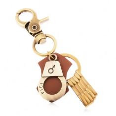 Matt kulcstartó sárgaréz színben, bilincs női szimbólummal és számmal