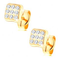 Fülbevaló 14K sárga aranyból - csillogó négyzet, kerek átlátszó cirkóniák
