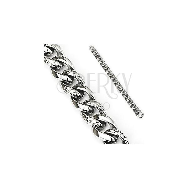 Acél karkötő - vastag lánc kígyómintával díszítve, ezüst szín