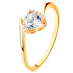 Gyűrű 14K sárga aranyból - átlátszó cirkóniás szív, ívelt szárvégek