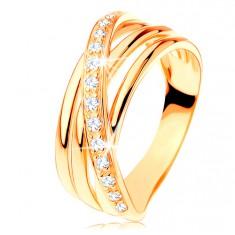 Gyűrű 14K sárga aranyból - három sima sáv, ferde cirkóniás vonal