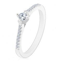 925 ezüst gyűrűt, csillogó cirkóniás szárak, kerek cirkónia