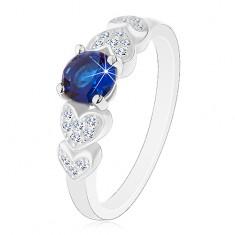 925 ezüst gyűrű, kerek sötétkék cirkónia, csillogó szívek