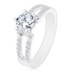 Eljegyzési 925 ezüst gyűrű, vágat a csillogó szárakon, átlátszó cirkóniák