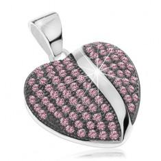 925 ezüst medál, patinás domború szívecske, rózsaszín cirkóniával