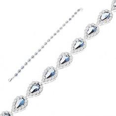 Csillogó karkötő, 925 ezüst - kék cirkónia könnycseppek átlátszó szegéllyel