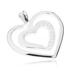 925 ezüst ródiumozott medál, két szív körvonal, áttetsző cirkóniák