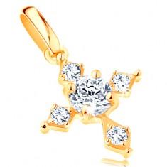 585 arany medál - fényes kereszt, áttetsző cirkóniával