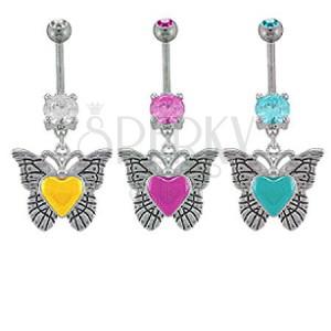 Cirkóniaköves köldök piercing - pillangó, festett szív