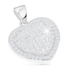925 ezüst medál, kidomborodó szív átlátszó cirkóniákkal díszítve