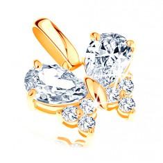 14K sárga arany medál - áttetsző cirkóniákkal díszített pillangó