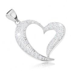 925 ezüst medál, aszimmetrikus szívkörvonal átlátszó cirkóniás díszítéssel