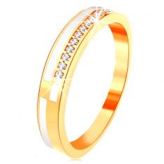 14K sárga arany gyűrű - vékony sáv cirkóniákkal kirakva és fehér fénymáz
