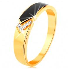 14K sárga arany gyűrű - fényes sáv fekete fénymázzal, átlátszó cirkóniák