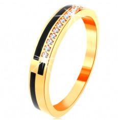 14K sárga arany gyűrű - vékony sáv cirkóniákkal kirakva és fekete fénymáz